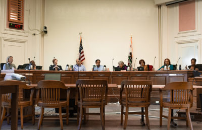 Berkeley City Council sits in the front of the room