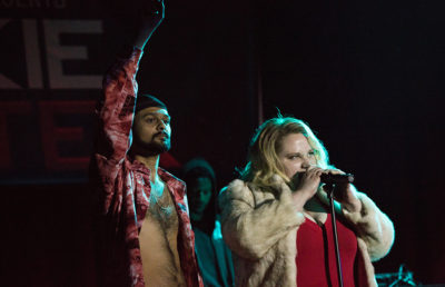 Danielle MacDonald, starring in Patti Cake$, takes to the stage for rap performance.