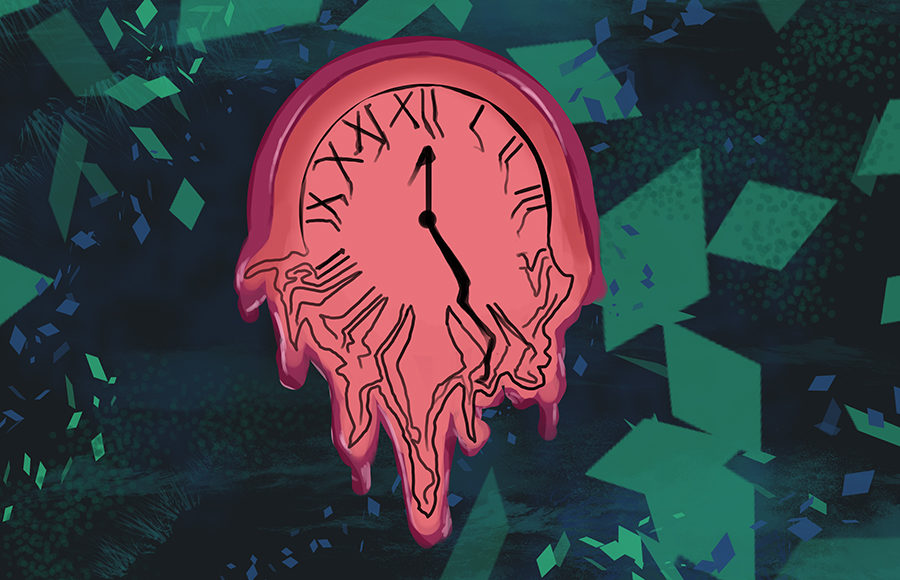 A clock melts in the midst of subdued chaos