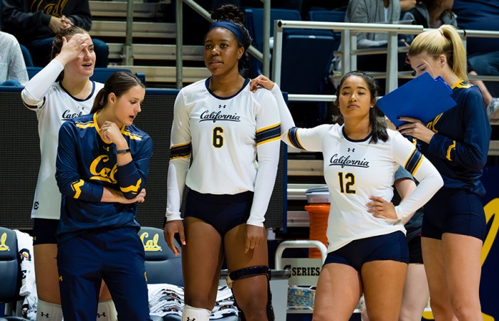 September 15, 2017; Berkeley, California, USA; Women's Volleyball: Cal v St. Mary's; Ashten Smith-Gooden (6), Gaby Deguzman (12) Photo credit: Kelley L Cox- KLC fotos