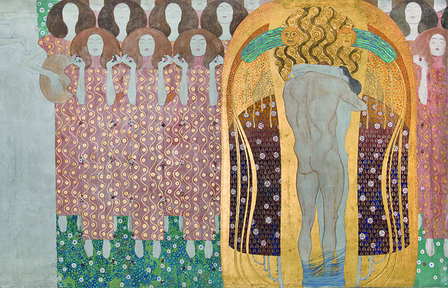"""The Arts, Paradise Choir, and The Embrace.""  Gustav Klimt. Casein paint, chalk, graphite, applied plaster, and various appliqué materials."
