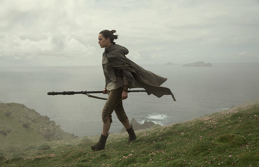 Rey walks on an an island in the upcoming Star Wars Film