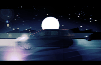 Illustration of a car speeding down a freeway at night, with the moon in the background
