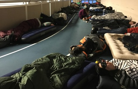 students sleep on the floor at Yale's hackathon