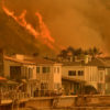 VENTURA, CALIFORNIA DECEMBER 6, 2017-The Thomas Fire reaches the Northbound 101 freeway north of Ventura Wednesday threatening beachfront homes. (Wally Skalij/Los Angeles Times)