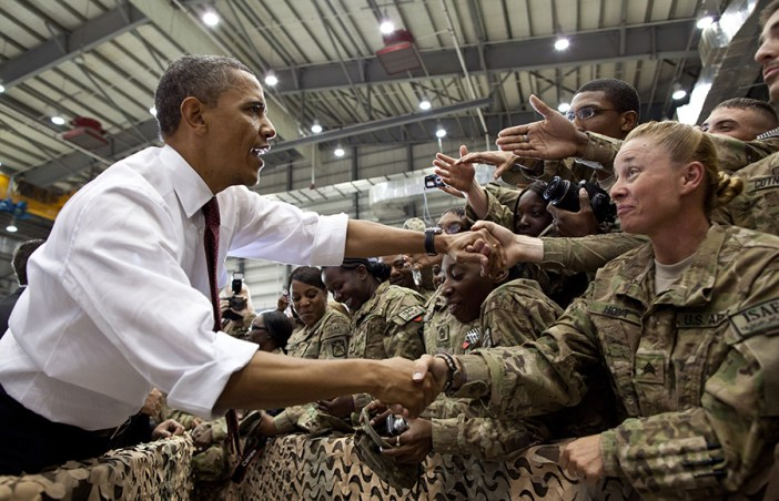 President Barack Obama greets U.S. troops following his remarks at Bagram Air Field, Afghanistan, May 1, 2012.