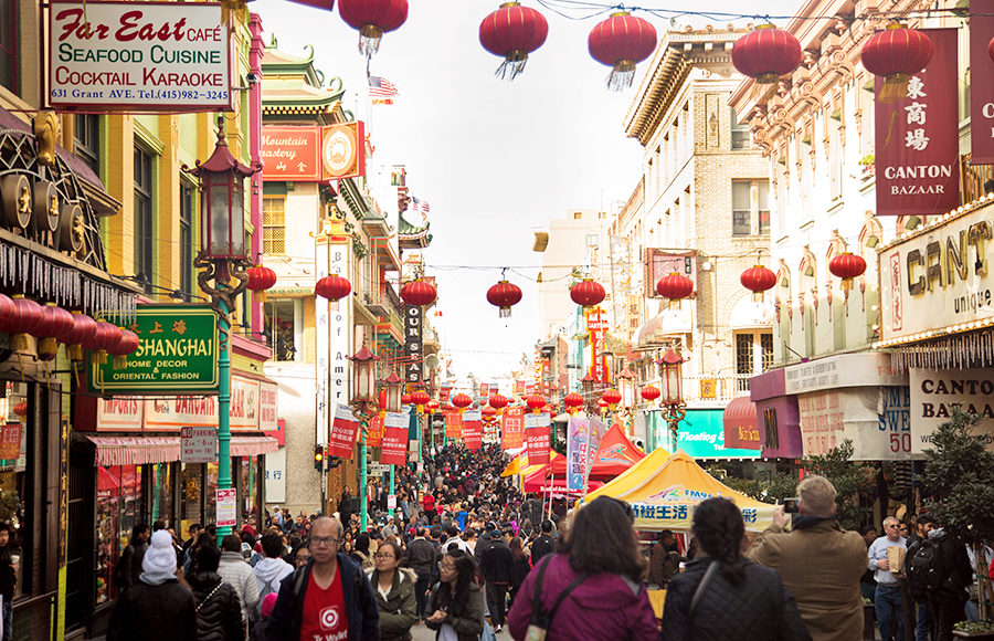 People fill the streets of Chinatown in San Francisco to celebrate the Chinese New Year.