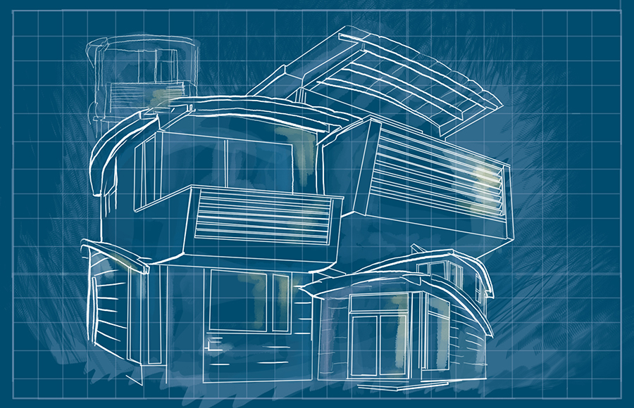 an illustration of a blueprint of a house like those made by Karl Wanaselja