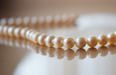 Pearls on table