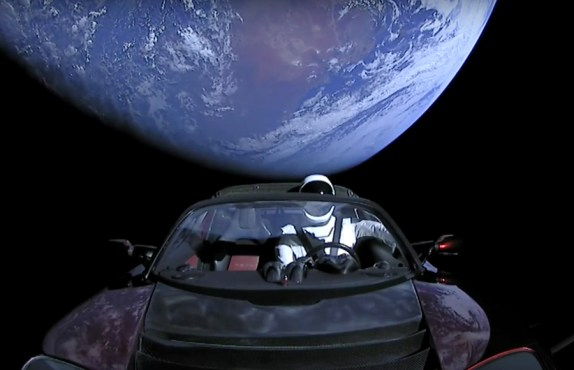 Image of Tesla Roadster in Space