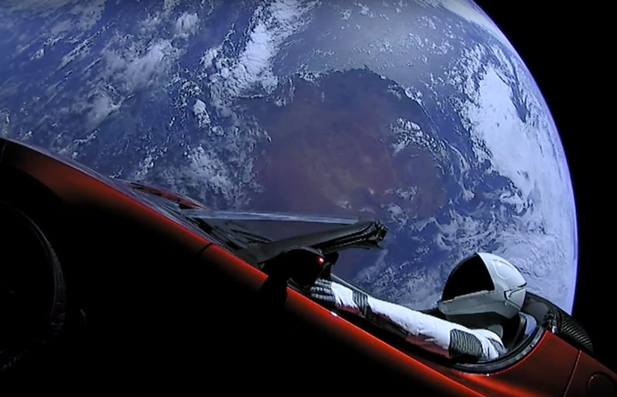 Tesla Roadster in space, launched on a SpaceX Falcon Heavy rocket