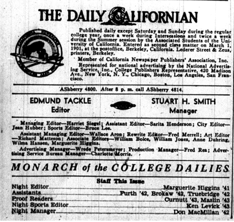 Masthead from a 1940 issue of The Daily Californian, when Higgins was a night editor.