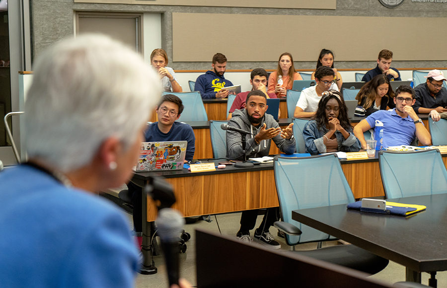 ASUC Senator Amir Wright questions Chancellor Carol Christ about the campus's support for student-run recruitment and retention centers.
