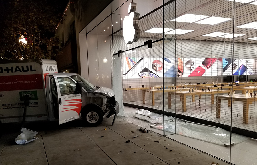 Metal security gate thwarts attempted burglary at Berkeley Apple Store