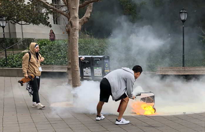 KiwiBot catches fire outside Martin Luther King Jr. Student Union
