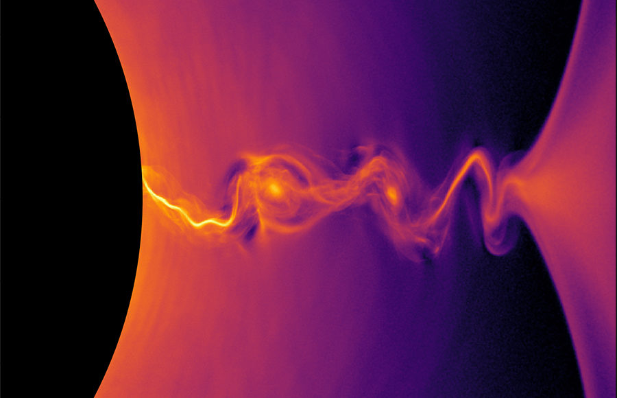 A black half circle covers the far left side of the picture. In extreme contrast, left of the circle, heavily saturated orange, pink, and purple colors diffuse towards the right of the image. At the far right of the image, the colors seem to merge condense to form one single tube of color in a black vacuum, and then expand once again in all directions.
