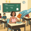 Illustration of students in a classroom. A hand symbolizing budget cuts takes away a student's books
