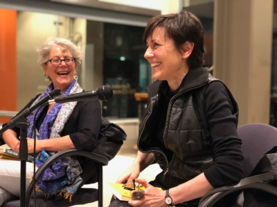 Author María Sonia Cristoff and her translator, Katherine Silver at the American Bookbinders Museum