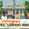 "Cal students holding a banner that reads ""More affordable student housing"" in front of Berkeley City Hall"