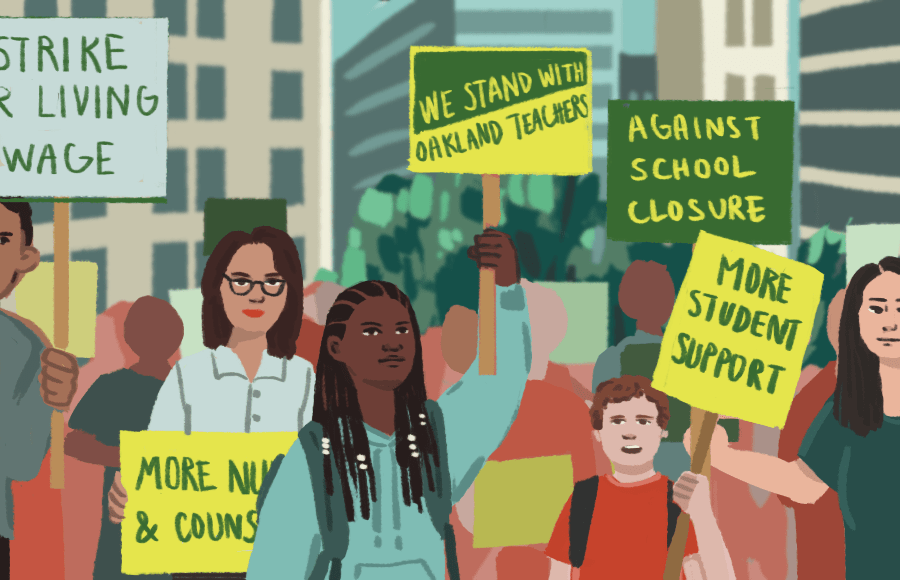"""Students and adults protesting in downtown Oakland with signs that read """"We stand with Oakland teachers"""""""