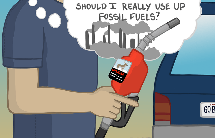 """Person filling up on gas, thinking """"Should I really use up fossil fuels?"""""""