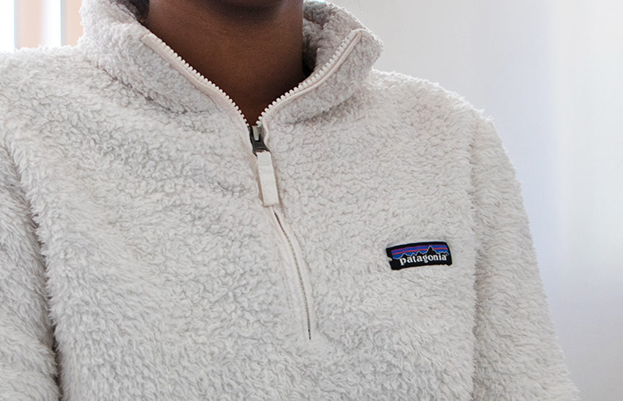 Person wears white Patagonia sweater. The picture only includes their upper chest and stops at their neck, only displaying the logo of the sweater.