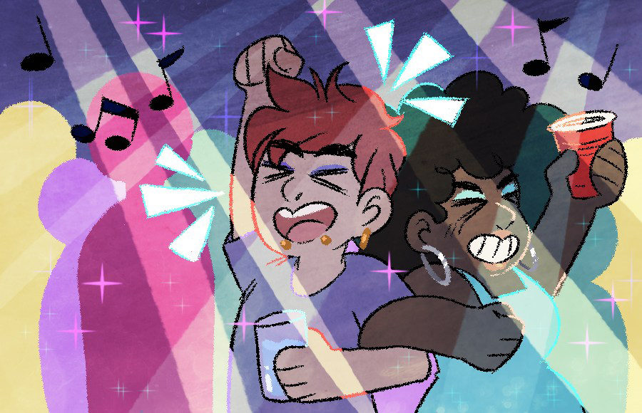 A drawing of two people linking arms, closing their eyes, and raising their fists in joy as they dance at a party. Music notes and strobe lights fill the air above them.