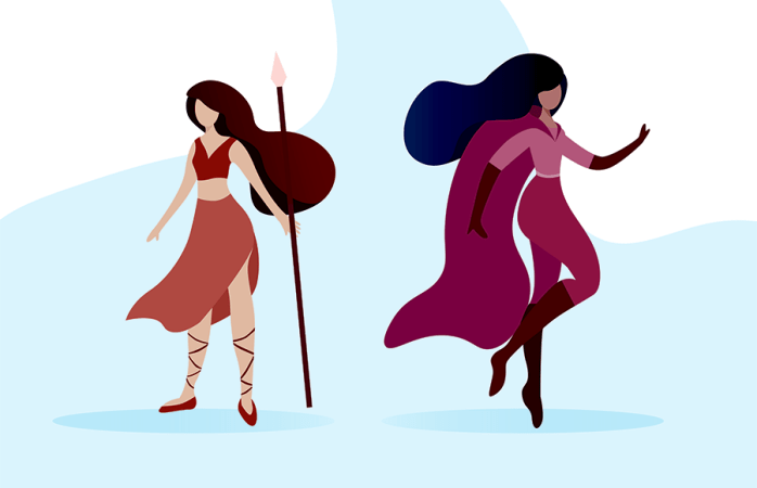 A woman dressed in warrior-like clothing with a spear and a woman dressed in superhero clothing