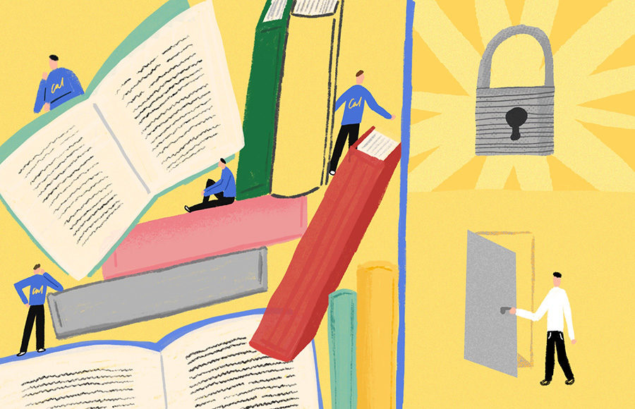 Cal students with books, a lock, and an open door