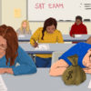 Students in a classroom taking the SAT. One student is asleep with a bag of money on his desk