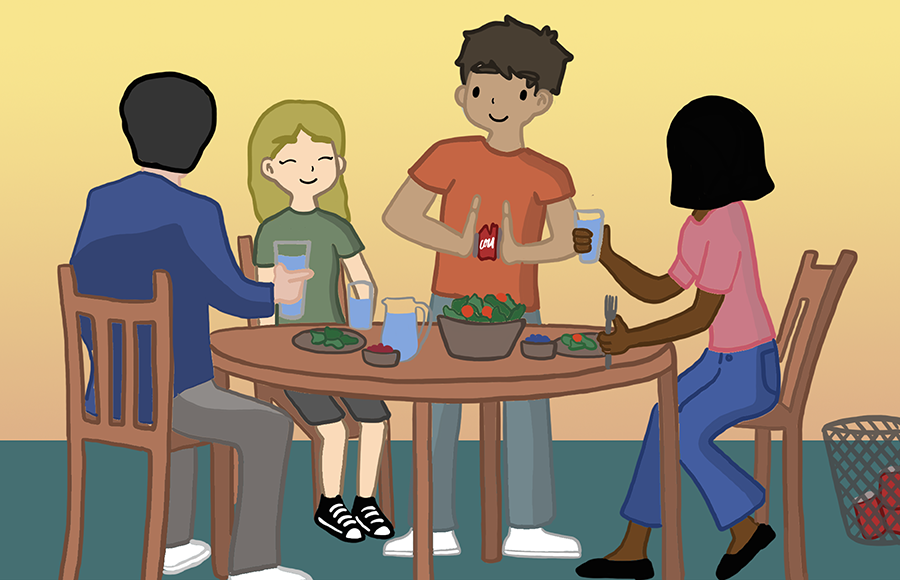 Four people sitting at a dinner table eating salad. One person is crushing a can of Coke