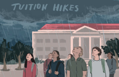 """Worried students at Sproul Plaza looking up at cloud that reads """"Tuition Hikes"""""""