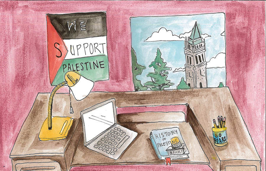 """A desk with a poster reading """"We support Palestine"""" and a book on the history of Palestine"""