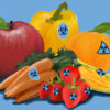 Fruits and vegetables with biohazard/radioactive stickers