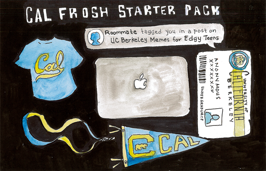 Cal freshman starter pack with items such as Cal ID, laptop, and Facebook notification