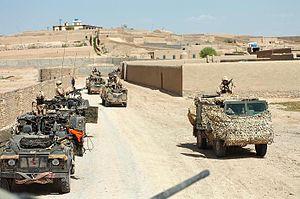 British Soldiers patrol Helmand Province.
