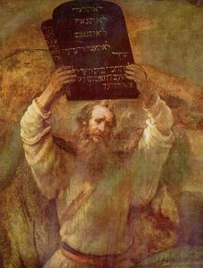 Moses with the tablets of the Ten Commandments, painting by Rembrandt (1659) (Photo credit: Wikipedia)