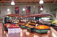 Grocery Store Interior Signage | Market Produce Area Upgrade | Suspended Metal Trellis | North Coast Co-op (Photo credit: I-5 Design & Manufacture)
