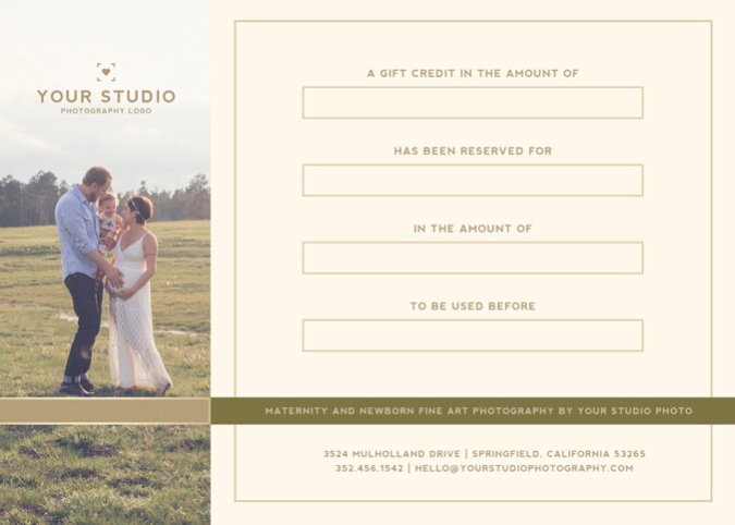 Photography Studio Gift Certificate Template Mimimal Luxe