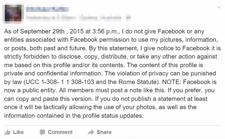 Here\u0027s how to respond to those fake Facebook privacy disclaimers - privacy statement