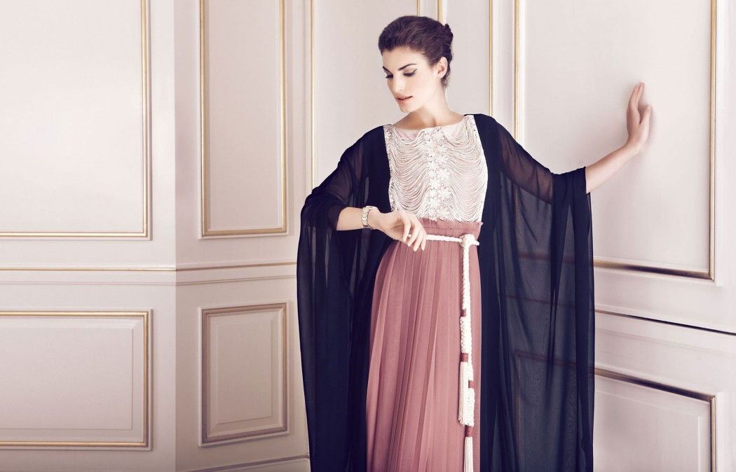 The combination of fabrics and colors and textures puts this abaya in a class of its own