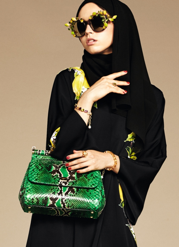 Another hint of the Dolce & Gabbana signature fabric makes this abaya standout.