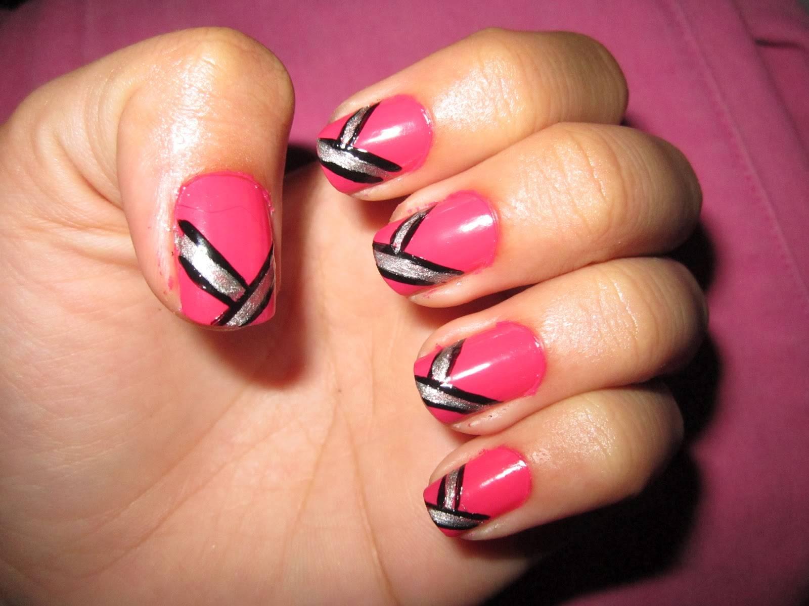 Pink With A Glitter Twist Nail Art