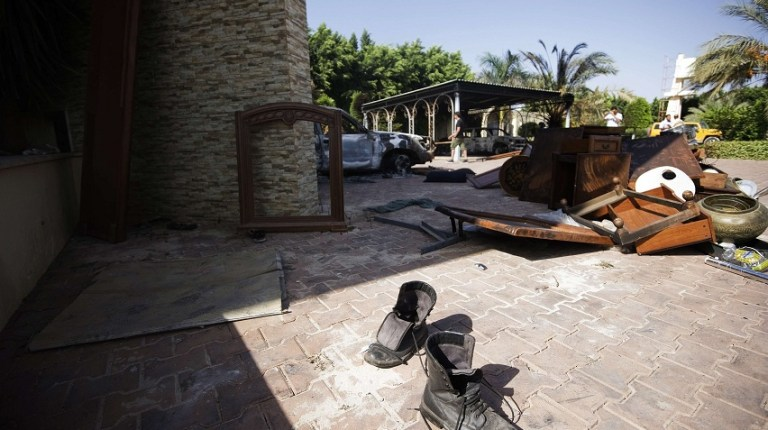 Broken furniture outside the US consulate building in Benghazi following an attack in which the US ambassador to Libya and three other US nationals were killed AFP PHOTO / GIANLUIGI GUERCIA