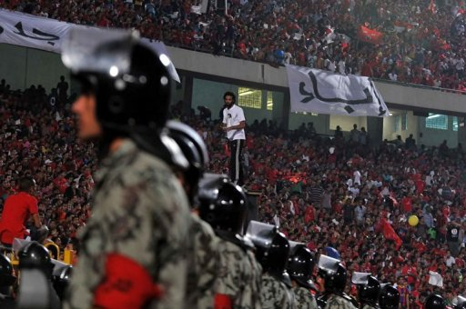 Egyptian soldiers stand guard during an Al-Ahly match in Cairo in 2011. (AFP FILE / MOHAMMED HOSSAM)