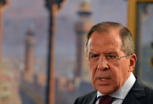 Russian Foreign Minister Sergei Lavrov speaks during a joint press conference on Oct. 4, 2012. (AAMIR QURESHI/AFP)
