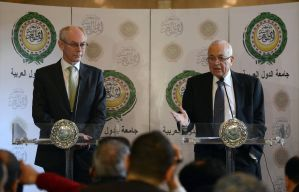 European Union President Herman Van Rompuy (left) and Arab League general secretary Nabil al-Arabi (right) give a statement after their meeting at the Arab League headquarters. (AFP Photo / Khaled Desouki)