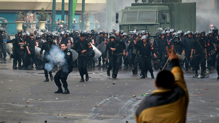 Demonstrations marked the first time that the Muslim Brotherhood had participated in the protests en masse. Once again, the protesters seized Tahrir Square from the security services, but this time they would not be driven out of the area. AFP Photo / Peter Macdiarmid