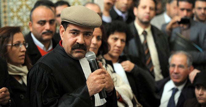 A picture taken on Dec 29, 2010 shows Tunisian lawyer and human rights activist Choukri Belaid speaking as he attends a meeting in solidarity with the residents of Sidi Bouzid. — Photo by AFP