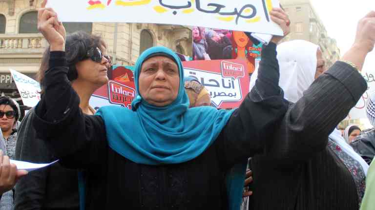 Egyptian women demand their rights on the occasion of the International Women's Day, (Photo by Mohamed Omar/DNE)